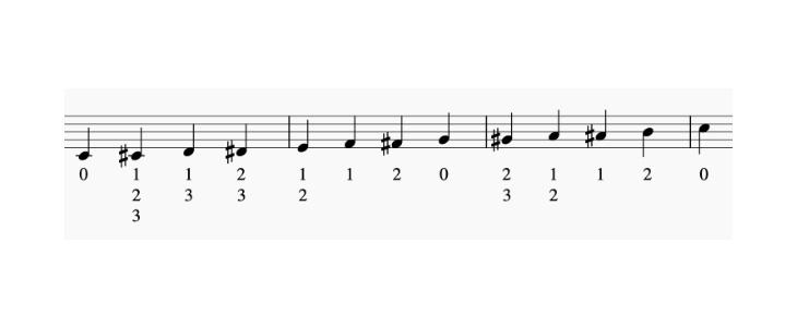 下のB♭〜チューニングB♭まで(半音階含む)の運指表の画像